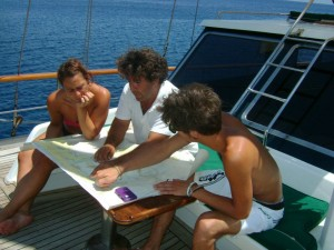 Planning gulet cruise itinerary on board