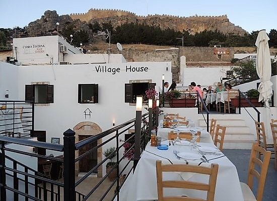 Roof terraces in Lindos